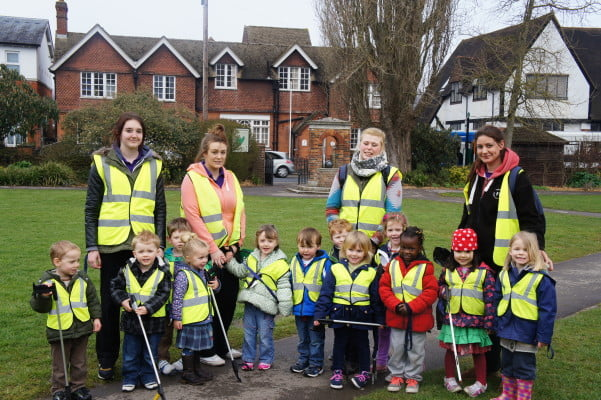Group of young children with nursery staff taking part in Big Pick Week.