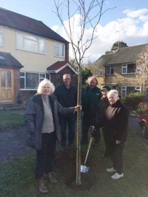 The photo shows Jane Marley (right) with two of her neighbours, Cllr Stephen Hill and Robin Cooper from Farnham Town Council.